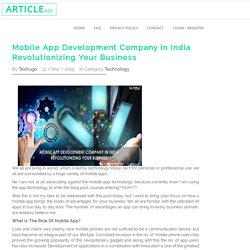 Mobile App Development Company In India Revolutionizing Your Business