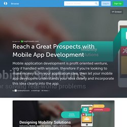 Reach a Great Prospects with Mobile App Development
