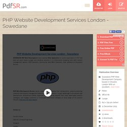 PHP Website Development Services London - Sowedane