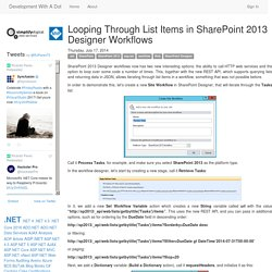 Development With A Dot - Looping Through List Items in SharePoint 2013 Designer Workflows