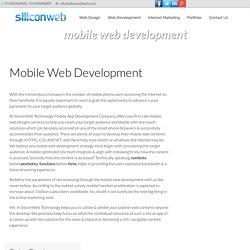 Mobile Web Development Services - www.siliconwebtech.com