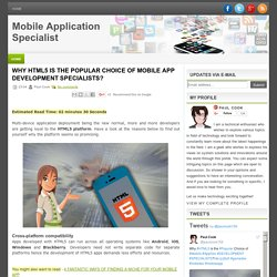 Why HTML5 is the Popular Choice of Mobile App Development Specialists?