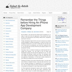 Remember the Things before Hiring An iPhone App Development Company - Submit An Article - Submit Your Article
