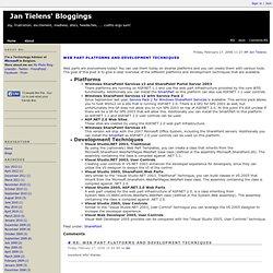 Web Part Platforms and Development Techniques