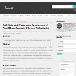DARPA-funded Efforts in the Development of Novel Brain–Computer Interface Technologies