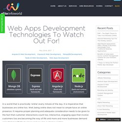 Web Apps Development Technologies To Watch Out For! -
