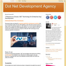 7 Reasons to Choose .NET Technology for Enterprise App Development