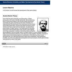 Development of the Atmoic Theory