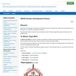 28542 Human development theory: Māori models of human development