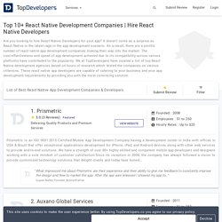 Top 10+ React Native Development Companies & Developers Reviews 2020 - Topdevelopers.co
