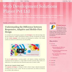 Web Development Solutions Player Pvt Ltd: Understanding the Difference between Responsive, Adaptive and Mobile-First Design