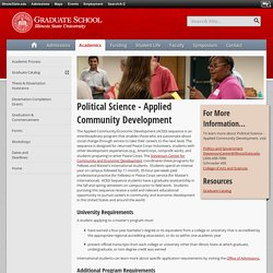 Political Science - Applied Community Development