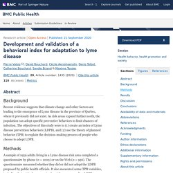 BMC PUBLIC HEALTH 21/09/20 Development and validation of a behavioral index for adaptation to lyme disease