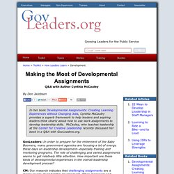 Making the Most of Developmental Assignments