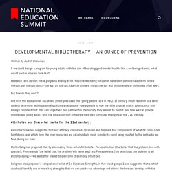 Developmental Bibliotherapy – An ounce of prevention — National Education Summit