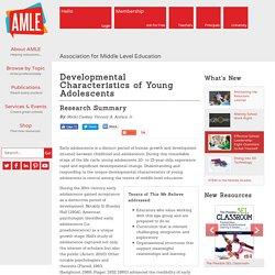 Developmental Characteristics of Young Adolescents