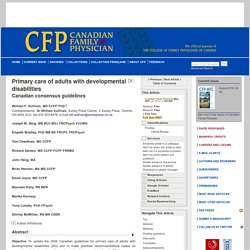 Primary care of adults with developmental disabilities