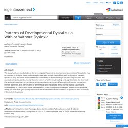 Patterns of Developmental Dyscalculia With or Without Dyslexia
