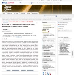 A Review of Developmental Research on Resilience in Maltreated Children