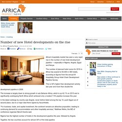 Number of new Hotel developments on the rise - Africa Property News