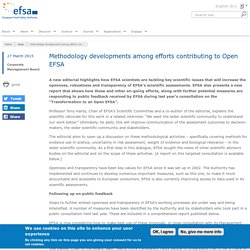 EFSA 27/03/15 Methodology developments among efforts contributing to Open EFSA.