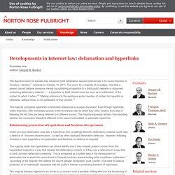 Developments in Internet law: defamation and hyperlinks