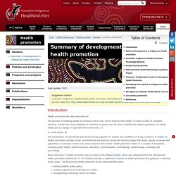 Summary of developments in Indigenous health promotion « Reviews « Health promotion « Health infrastructure