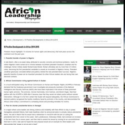 10 Positive Developments in Africa 2014-2015
