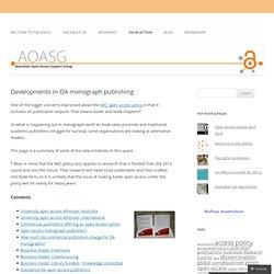Developments in OA monograph publishing