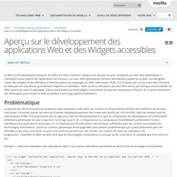 Aperçu sur le développement des applications Web et des Widgets accessibles - Accessibilité