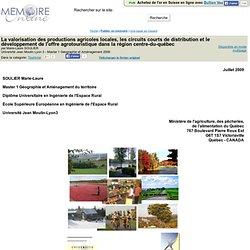 Université Jean Moulin Lyon 3 - 2009 - Mémoire en ligne : La valorisation des productions agricoles locales, les circuits courts