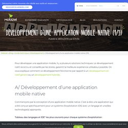 Développement application native (Android et iOS)