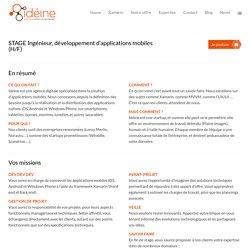 Stage Ingénieur développement d'applications mobiles - Idéine