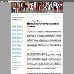 Développement durable et agriculture durable: Appropriation des concepts et expression des résistances