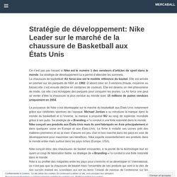 Stratégie de développement: Nike Leader sur le marché de la chaussure de Basketball aux États Unis