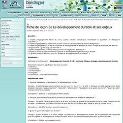 Fiche de leçon 5e Le développement durable et ses enjeux - Collège Clovis Hugues à Cavaillon