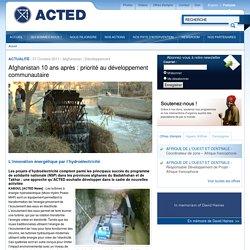Acted - Article hydroélectricité et dvpmt communautaire Afghanistan