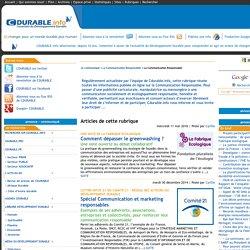 CDURABLE.info l'essentiel du développement durable : La Communication Responsable