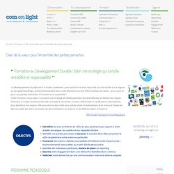 formation développement durable rse | Com On Light, agence conseil en communication responsable
