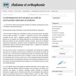 Autisme et Orthophonie » Le développement de l'oral grâce aux outils de communication alternative et améliorée