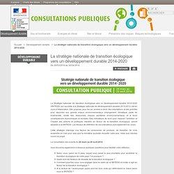 La stratégie nationale de transition écologique vers un développement durable 2014-2020 - Les consultations publiques du ministère du Développement durable