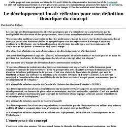 Le développement local: réflexion pour une définition théorique du concept