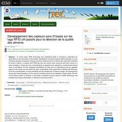 UNIVERSITE DE GRENOBLE 27/09/13 Thèse en ligne : Développement des capteurs sans fil basés sur les tags RFID uhf passifs pour la détection de la qualité des aliments