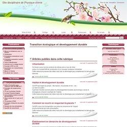 Transition écologique et développement durable - Site disciplinaire de Physique-chimie