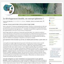 Les Cafés Géo » Le développement durable, un concept éphémère ?