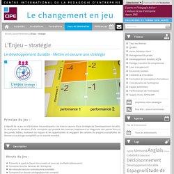 Jeu mise en oeuvre d'une stratégie développement durableCIPE : jeux d'entreprise, conception jeu pédagogique, formation par le jeu