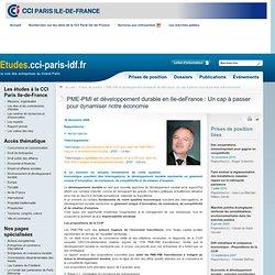 PME-PMI ET DÉVELOPPEMENT DURABLE EN ILE-DE-FRANCE