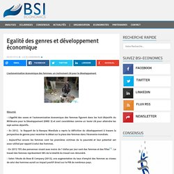 Egalité des genres et développement économique