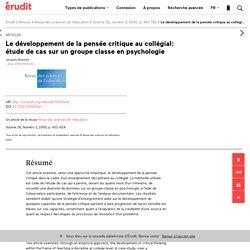 Le développement de la pensée critique au collégi… – Revue des sciences de l'éducation – Érudit