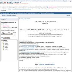 Ordonnance n° 2014-697 du 26 juin 2014 relative au développement de la facturation électronique